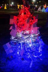 A patriotic tree donated by Don A. Messinger Painting and Wall Papering In honor of: David and Ellen Messinger and James and Conchita Perschy