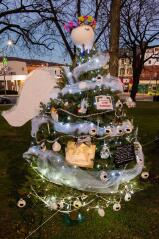 A tree in loving memory of Lynn Torrone is decorated as an angel.