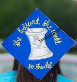 Ali Hernandez's cap decorated for the ceremony.