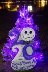 """Playing off of Tim Burton's movie, """"The Nightmare Before Christmas,"""" this tree declares the year 2020 as a mightmare."""