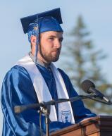 Class secretary Josh Mooney announces graduates names during Palmerton's graduation ceremony.