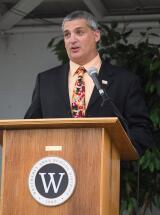 Weatherly principal Anthony DeSpirito welcomes graduates and guests to the school's graduation ceremony.